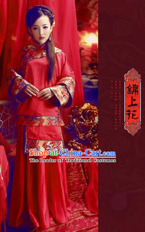 Ancient Chinese Costume Chinese Style Wedding Dress Red Ancient Women Longfeng Dragon and Phoenix Flown Bride Toast Cheongsam