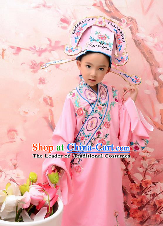 Traditional Ancient Chinese Peking Opera Scholar Costume, Hanfu Clothing Chinese Ming Dynasty Clothing for Kid