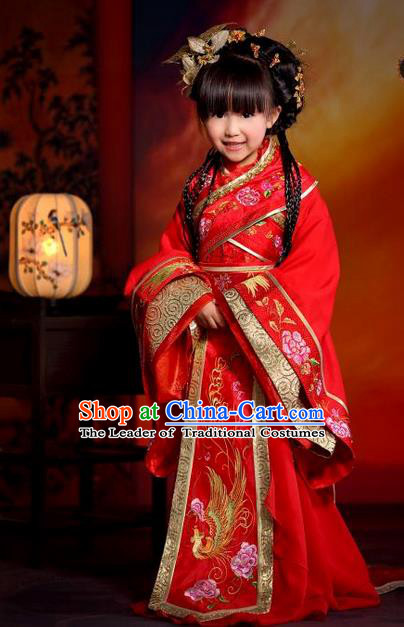 Traditional Ancient Chinese Imperial Consort Children Costume, Children Elegant Hanfu Dress Chinese Tang Dynasty Imperial Concubine Red Clothing for Kids