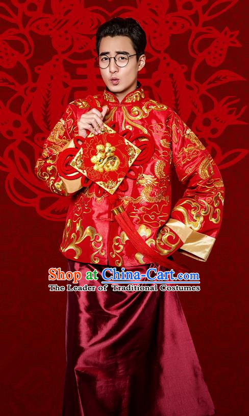Traditional Ancient Chinese Costume Chinese Style Tang Suit Wedding Red Dress Ancient Long Dragon and Phoenix Flown Mandarin Jacket Groom Toast Clothing for Men