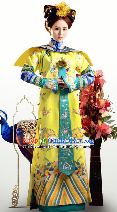 Traditional Ancient Chinese Imperial Empress Costume, Chinese Qing Dynasty Manchu Lady Queen Dress, Chinese Mandarin Robes Imperial Concubine Clothing for Women