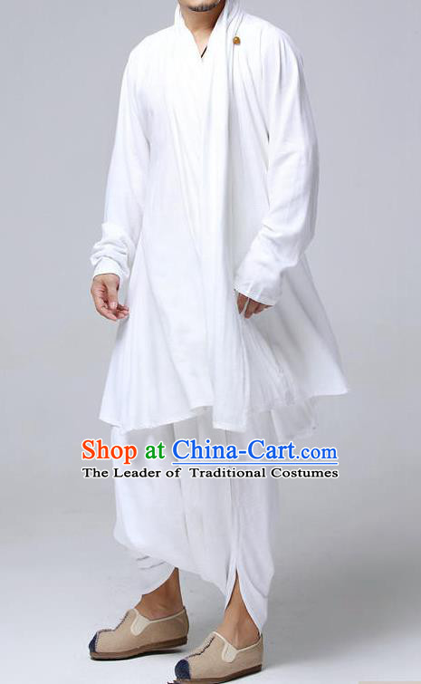 Top Chinese National Tang Suits Frock Costume Complete Set, Martial Arts Kung Fu Training Uniform Kung fu Unlined Upper Garment and Pants, Chinese Male White Zen Suit, Taichi Suits Wushu Clothing for Men