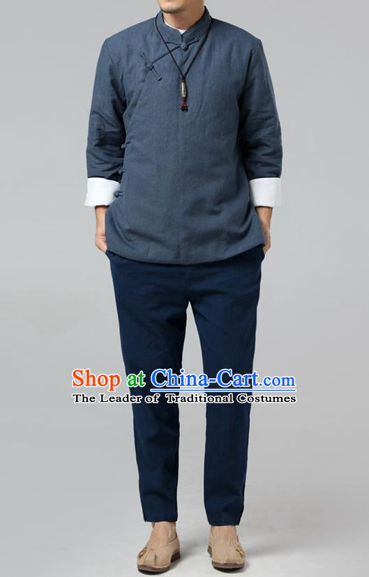 Top Chinese National Tang Suits Flax Frock Costume, Martial Arts Kung Fu Slant Opening Dark Blue Jackets, Kung fu Plate Buttons Unlined Upper Garment, Chinese Taichi Cotton-Padded Coats Wushu Clothing for Men