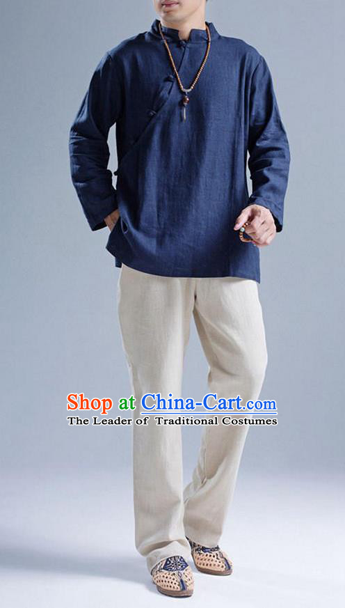 Top Chinese National Tang Suits Flax Frock Costume, Martial Arts Kung Fu Slant Opening Blue Blouse, Kung fu Plate Buttons Unlined Upper Garment, Chinese Taichi Shirts Wushu Clothing for Men
