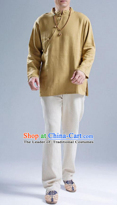 Top Chinese National Tang Suits Flax Frock Costume, Martial Arts Kung Fu Slant Opening Brown Blouse, Kung fu Plate Buttons Unlined Upper Garment, Chinese Taichi Shirts Wushu Clothing for Men