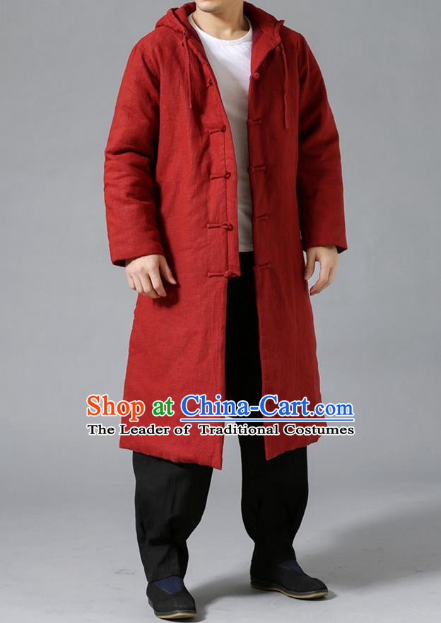 Top Chinese National Tang Suits Flax Frock Costume, Martial Arts Kung Fu Front Opening Rust Red Coats, Kung fu Plate Buttons Unlined Upper Garment Hooded Robes, Chinese Taichi Cotton-Padded Dust Coats Wushu Clothing for Men