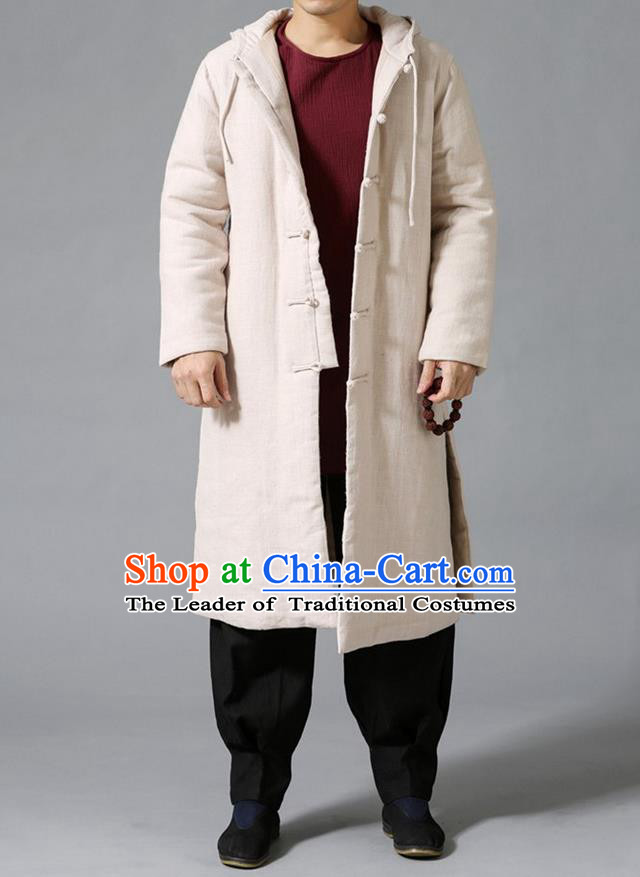 Top Chinese National Tang Suits Flax Frock Costume, Martial Arts Kung Fu Front Opening Beige Coats, Kung fu Plate Buttons Unlined Upper Garment Hooded Robes, Chinese Taichi Cotton-Padded Dust Coats Wushu Clothing for Men