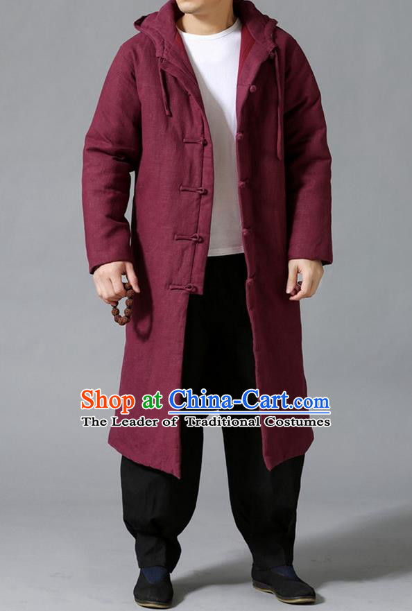 Top Chinese National Tang Suits Flax Frock Costume, Martial Arts Kung Fu Front Opening Fuchsias Coats, Kung fu Plate Buttons Unlined Upper Garment Hooded Robes, Chinese Taichi Cotton-Padded Dust Coats Wushu Clothing for Men