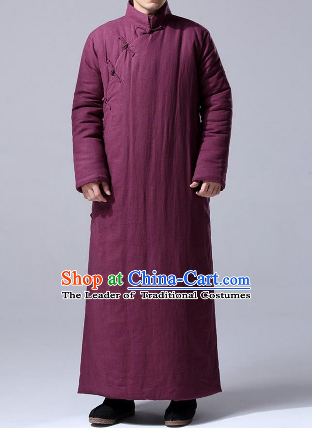 Traditional Top Chinese National Tang Suits Flax Frock Costume, Martial Arts Kung Fu Front Slant Fuchsia Teacher Coats, Kung fu Plate Buttons Unlined Upper Garment Robes, Chinese Taichi Cotton-Padded Robe Dust Coats Wushu Clothing for Men