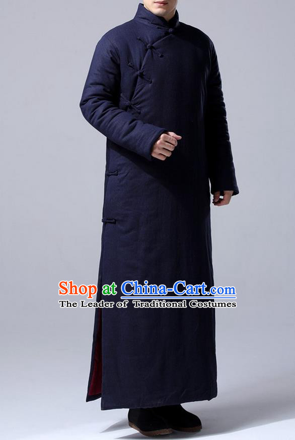 Traditional Top Chinese National Tang Suits Flax Frock Costume, Martial Arts Kung Fu Front Slant Purplish Blue Teacher Coats, Kung fu Plate Buttons Unlined Upper Garment Robes, Chinese Taichi Cotton-Padded Robe Dust Coats Wushu Clothing for Men