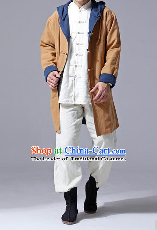 Traditional Top Chinese National Tang Suits Flax Frock Costume, Martial Arts Kung Fu Front Opening Double Color Turmeric Navy Coats, Kung fu Plate Buttons Unlined Upper Garment Hooded Robes, Chinese Taichi Double Side Dust Coats Wushu Clothing for Men