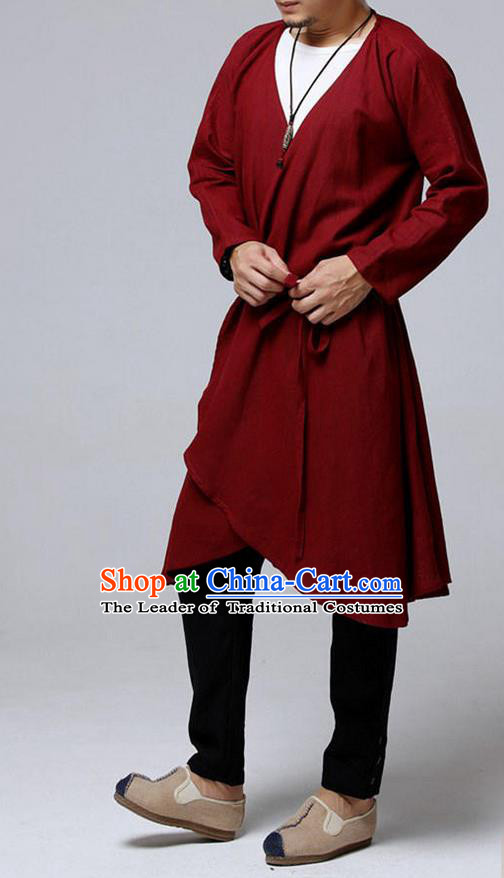 Traditional Top Chinese National Tang Suits Flax Frock Costume, Martial Arts Kung Fu Dark Red Cardigan, Kung fu Unlined Upper Garment, Chinese Taichi Dust Coats Wushu Clothing for Men