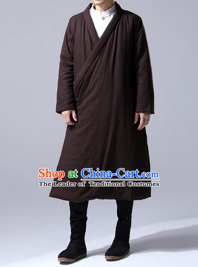 Traditional 	 Top Chinese National Tang Suits Flax Frock Costume, Martial Arts Kung Fu Slant Opening Coffee Hanfu Long Gown, Kung fu Plate Buttons Unlined Upper Garment Coat, Chinese Taichi Cotton-Padded Robes Wushu Clothing for Men