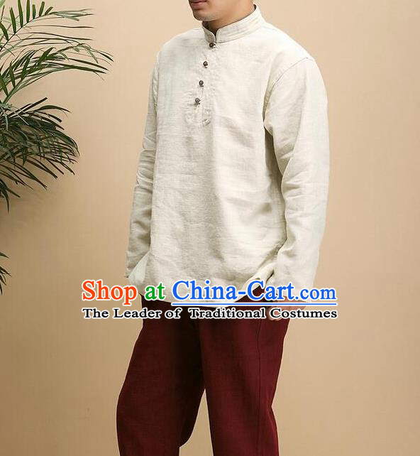 Traditional 	Top Chinese Yunnan National Tang Suits Flax Frock Costume, Martial Arts Kung Fu Long Sleeve Beige T-shirt, Kung fu Plate Buttons Unlined Upper Garment Blouse, Chinese Taichi Shirts Wushu Clothing for Men