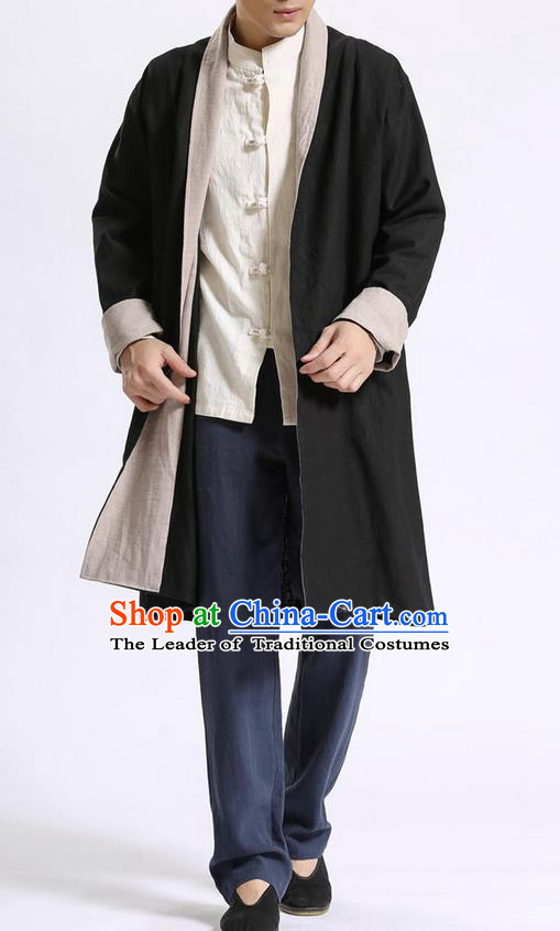 Traditional Top Chinese National Tang Suits Flax Frock Costume, Martial Arts Kung Fu Beige Lapel Double-sided Black-Gray Cardigan, Kung fu Unlined Upper Garment Cloak, Chinese Taichi Dust Coats Wushu Clothing for Men