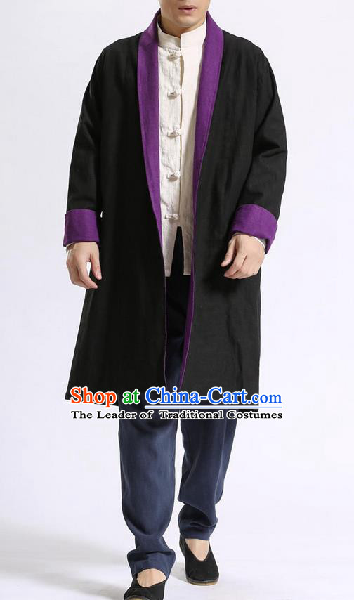 Traditional Top Chinese National Tang Suits Flax Frock Costume, Martial Arts Kung Fu Beige Lapel Double-sided Black-Violet Cardigan, Kung fu Unlined Upper Garment Cloak, Chinese Taichi Dust Coats Wushu Clothing for Men