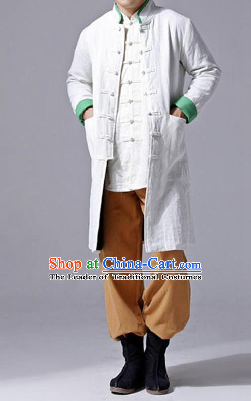 Traditional Top Chinese National Tang Suits Flax Frock Costume, Martial Arts Kung Fu Front Opening White Wool Coats, Kung fu Plate Buttons Unlined Upper Garment Jacket Robes, Chinese Taichi Dust Coats Wushu Clothing for Men