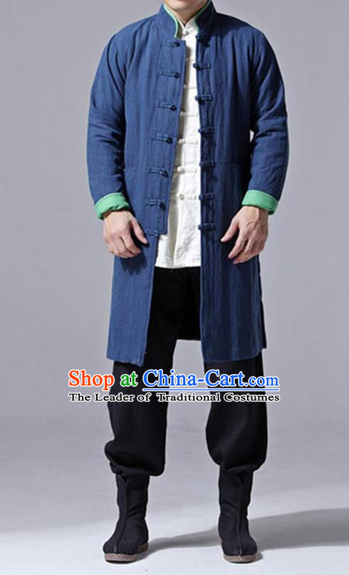 Traditional Top Chinese National Tang Suits Flax Frock Costume, Martial Arts Kung Fu Front Opening Blue Wool Coats, Kung fu Plate Buttons Unlined Upper Garment Jacket Robes, Chinese Taichi Dust Coats Wushu Clothing for Men