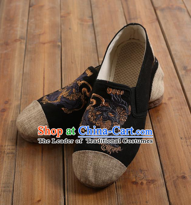 Traditional Top Chinese National Flax Frock Shoes, Martial Arts Kung Fu Embroidered Kylin Cloth Shoes, Kung fu Chinese Taichi Shoes for Men