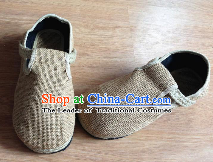 Traditional Top Chinese National Flax Frock Shoes, Martial Arts Kung Fu Straw Plaited Beige Shoes, Kung fu Chinese Taichi Shoes for Men