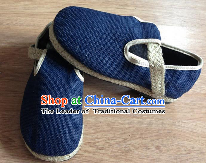 Traditional Top Chinese National Flax Frock Shoes, Martial Arts Kung Fu Straw Plaited Blue Shoes, Kung fu Chinese Taichi Shoes for Men