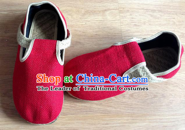 Traditional Top Chinese National Flax Frock Shoes, Martial Arts Kung Fu Straw Plaited Red Shoes, Kung fu Chinese Taichi Shoes for Women