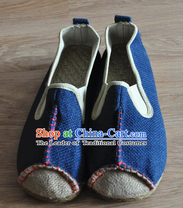 Traditional Top Chinese National Flax Frock Shoes, Martial Arts Kung Fu Rattan Plaited Blue Cloth Shoes, Kung fu Chinese Taichi Shoes for Men