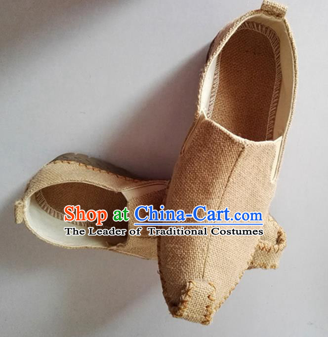 Traditional Top Chinese National Flax Frock Shoes, Martial Arts Kung Fu Beige Cloth Shoes, Kung fu Chinese Taichi Shoes for Men