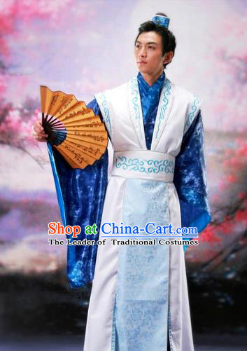 Traditional Ancient Chinese Nobility Childe Costume, Chinese Scholar Hanfu Dress Chinese Tang Dynasty Imperial Prince Embroidered Blue Clothing for Men