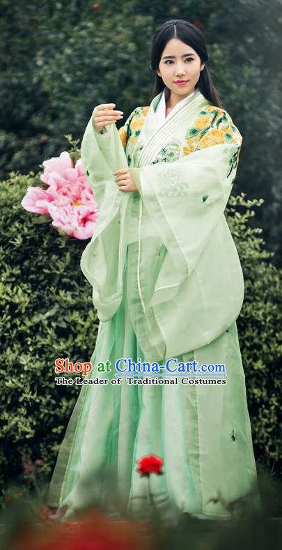 Traditional Ancient Chinese Imperial Empress Costume, Chinese Han Dynasty Queen Elegant Green Dress, Chinese Princess Robes Imperial Princess Consort Embroidered Clothing for Women
