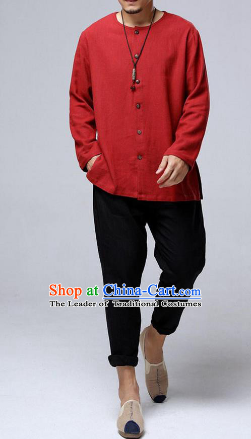 Traditional Top Chinese National Tang Suits Flax Frock Costume, Martial Arts Kung Fu Front Opening Red Blouse, Kung fu Unlined Upper Garment, Chinese Taichi Shirts Wushu Clothing for Men