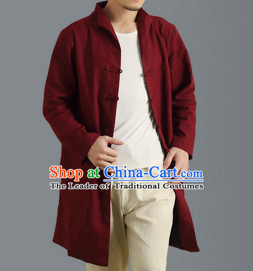 Traditional Top Chinese National Tang Suits Linen Frock Costume, Martial Arts Kung Fu Front Opening Stand Collar Wine Red Coats, Kung fu Plate Buttons Side Slit Robes, Chinese Taichi Dust Coats Wushu Clothing for Men