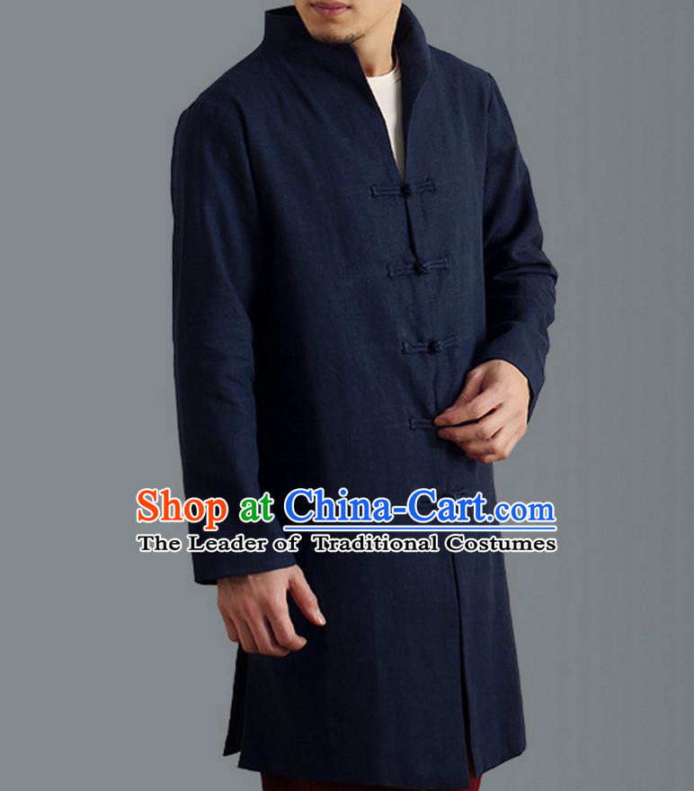 Traditional Top Chinese National Tang Suits Linen Frock Costume, Martial Arts Kung Fu Front Opening Stand Collar Blue Coats, Kung fu Plate Buttons Side Slit Robes, Chinese Taichi Dust Coats Wushu Clothing for Men