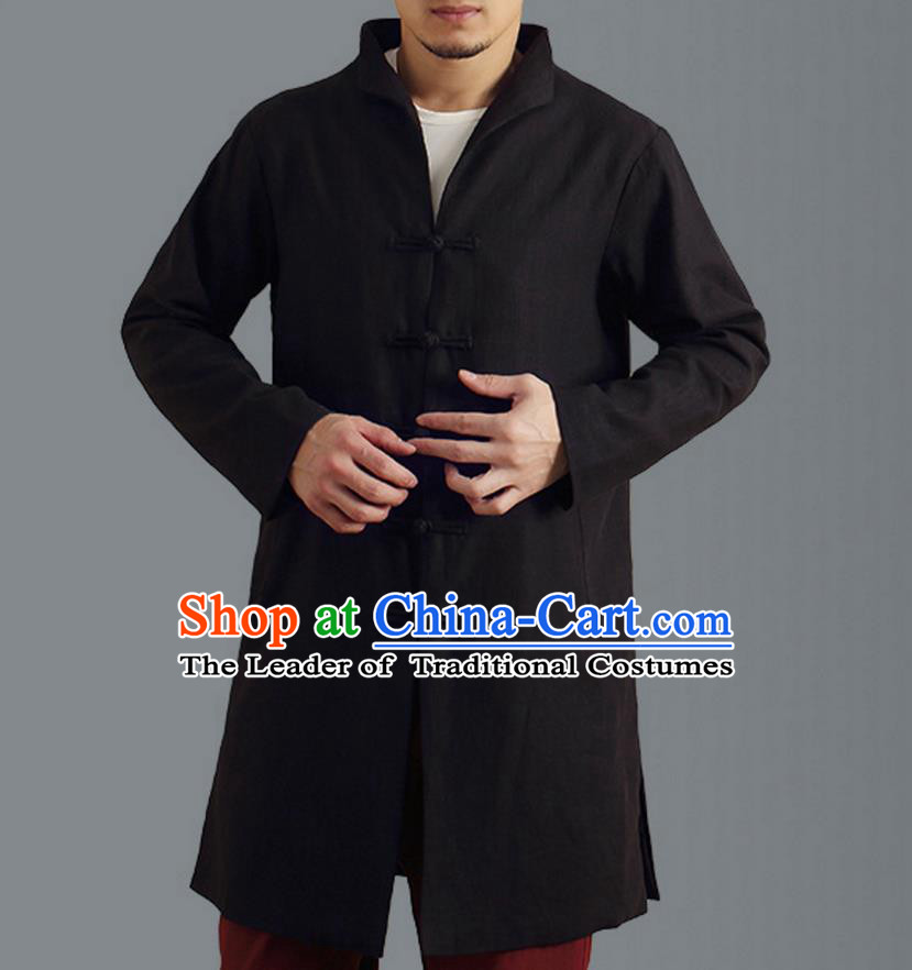 Traditional Top Chinese National Tang Suits Linen Frock Costume, Martial Arts Kung Fu Front Opening Stand Collar Black Coats, Kung fu Plate Buttons Side Slit Robes, Chinese Taichi Dust Coats Wushu Clothing for Men