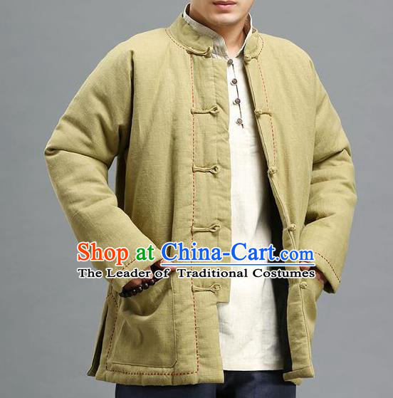 Traditional 	Top Chinese National Tang Suits Linen Costume, Martial Arts Kung Fu Front Opening Embroidery Threads Mixed Olives Coats, Kung fu Plate Buttons Cotton-Padded Jacket, Chinese Taichi Cotton-Padded Short Coats Wushu Clothing for Men