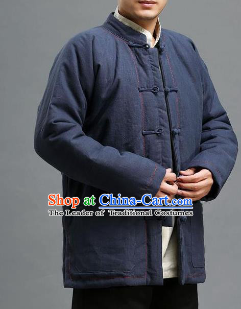 Traditional 	Top Chinese National Tang Suits Linen Costume, Martial Arts Kung Fu Front Opening Embroidery Threads Blue Coats, Kung fu Plate Buttons Cotton-Padded Jacket, Chinese Taichi Cotton-Padded Short Coats Wushu Clothing for Men