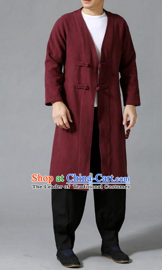 Traditional 	Top Chinese National Tang Suits Linen Costume, Martial Arts Kung Fu Front Opening Dark Red Coats, Kung fu Plate Buttons Jacket, Chinese Taichi Dust Coats Wushu Clothing for Men