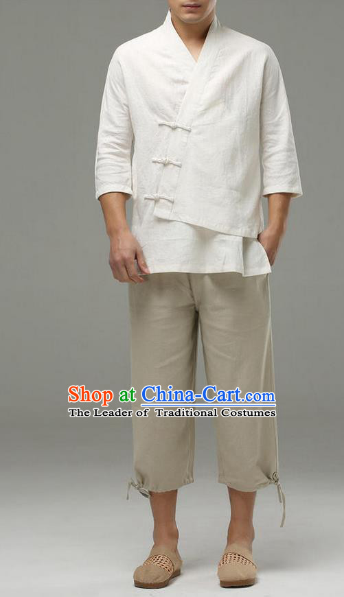 Traditional Top Chinese National Tang Suits Linen Frock Costume, Martial Arts Kung Fu Slant Opening Sleeve White Blouse, Kung fu Plate Buttons Unlined Upper Garment, Chinese Taichi Shirts Wushu Clothing for Men