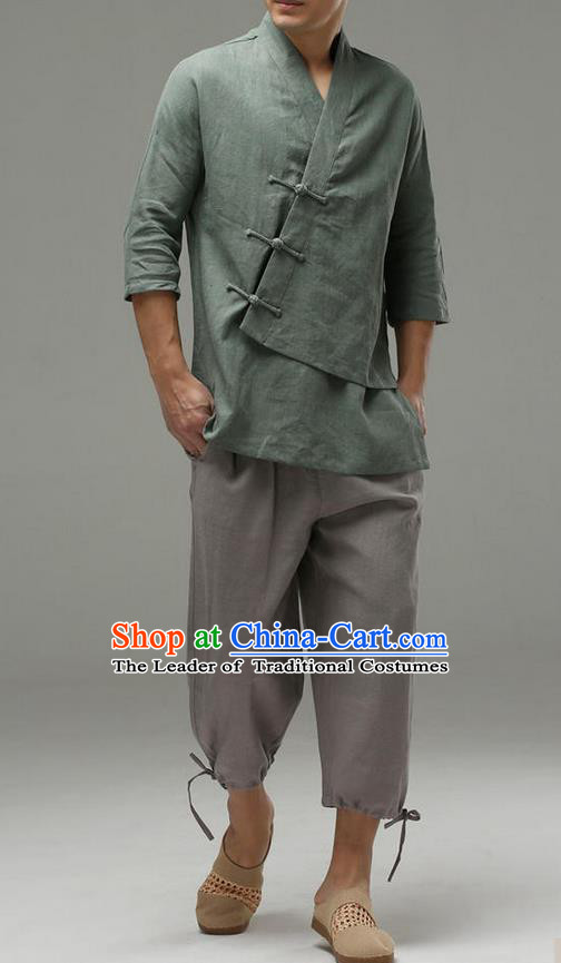 Traditional Top Chinese National Tang Suits Linen Frock Costume, Martial Arts Kung Fu Slant Opening Sleeve Pea-Green Blouse, Kung fu Plate Buttons Unlined Upper Garment, Chinese Taichi Shirts Wushu Clothing for Men