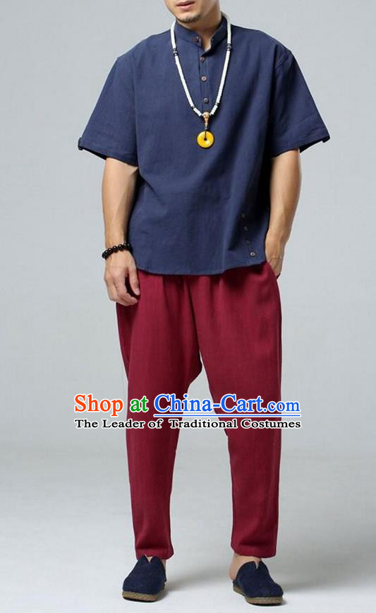 Traditional Top Chinese National Tang Suits Linen Frock Costume, Martial Arts Kung Fu Stand Collar Short Sleeve MazarineT-Shirt, Kung fu Plate Buttons Upper Outer Garment, Chinese Taichi Shirts Wushu Clothing for Men