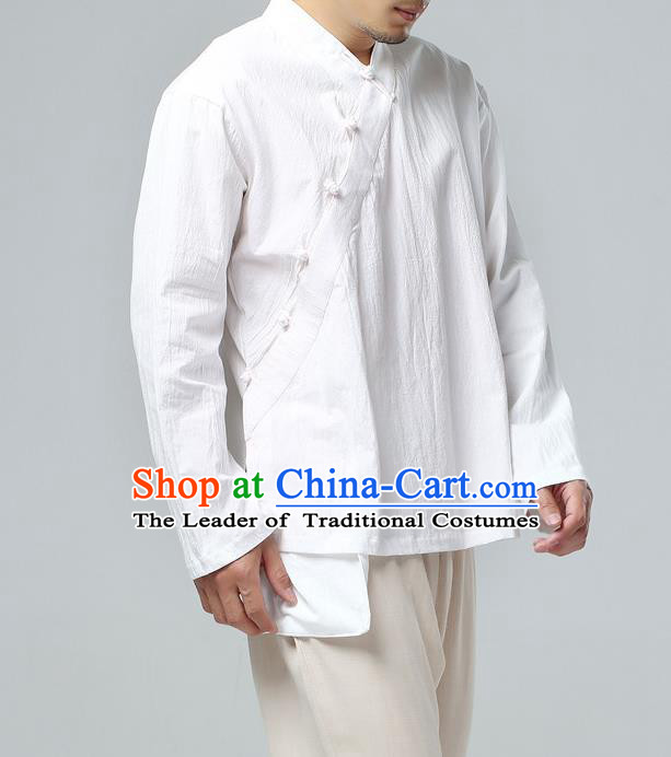 Traditional Top Chinese National Tang Suits Linen Frock Costume, Martial Arts Kung Fu Slant Opening Long Sleeve White Shirt, Kung fu Plate Buttons Upper Outer Garment Meditation Suit, Chinese Taichi Shirts Wushu Clothing for Men