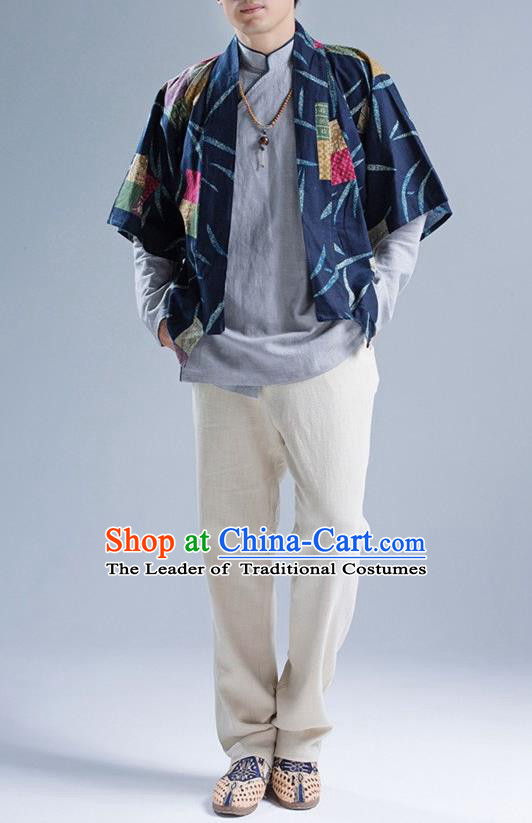 Traditional Top Chinese National Tang Suits Linen Frock Costume, Martial Arts Kung Fu Printing Blue Cardigan, Kung fu Thin Upper Outer Garment, Chinese Taichi Thin Coats Wushu Clothing for Men