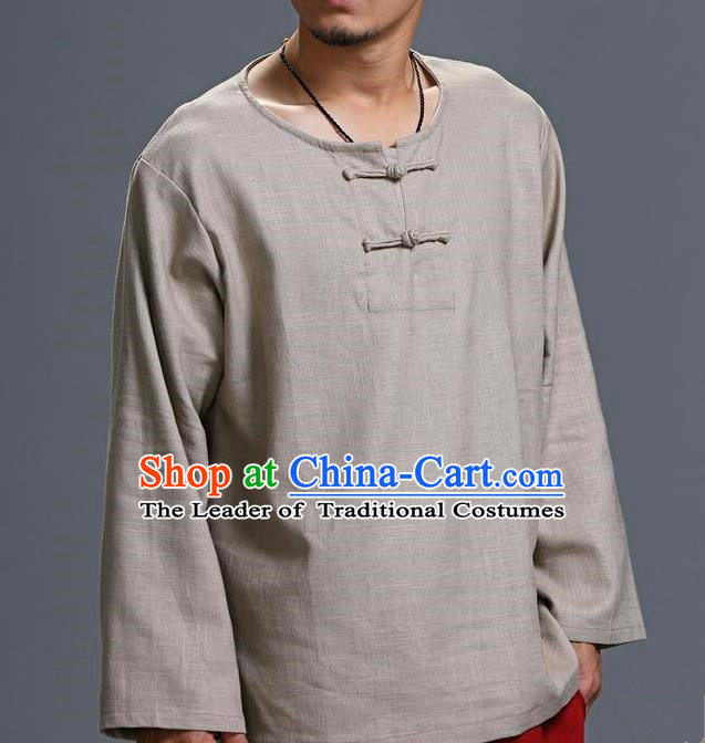 Traditional Top Chinese National Tang Suits Linen Frock Costume, Martial Arts Kung Fu Long Sleeve Grey T-Shirt, Kung fu Plate Buttons Upper Outer Garment, Chinese Taichi Shirts Wushu Clothing for Men