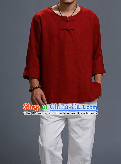 Traditional Top Chinese National Tang Suits Linen Frock Costume, Martial Arts Kung Fu Long Sleeve Red T-Shirt, Kung fu Plate Buttons Upper Outer Garment, Chinese Taichi Shirts Wushu Clothing for Men