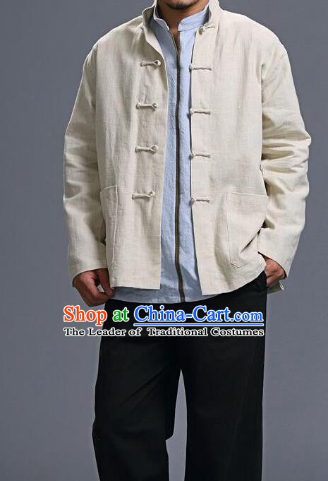 Traditional Top Chinese National Tang Suits Linen Costume, Martial Arts Kung Fu Front Opening Beige Coats, Kung fu Plate Buttons Jacket, Chinese Taichi Short Coats Wushu Clothing for Men