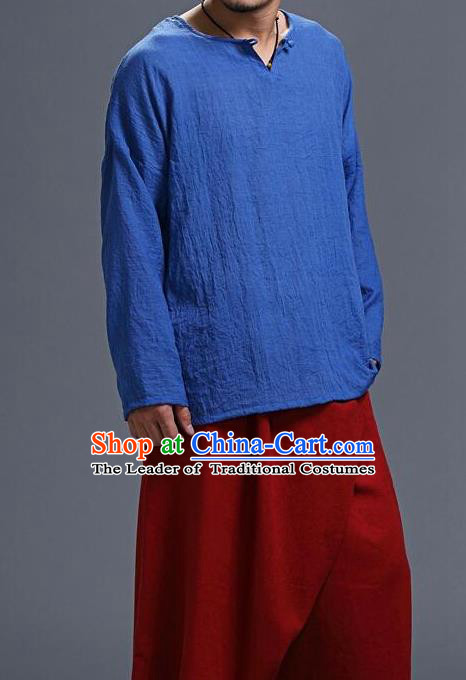 Traditional Top Chinese National Tang Suits Cotton Frock Costume, Martial Arts Kung Fu Long Sleeve Light Blue T-Shirt, Kung fu Unlined Upper Garment, Chinese Taichi Shirts Wushu Clothing for Men
