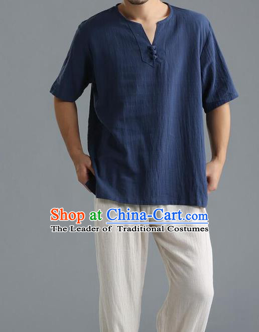 Traditional Top Chinese National Tang Suits Linen Frock Costume, Martial Arts Kung Fu Short Sleeve Blue T-Shirt, Kung fu Unlined Upper Garment, Chinese Taichi Shirts Wushu Clothing for Men