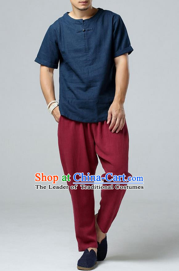 Traditional Top Chinese National Tang Suits Linen Frock Costume, Martial Arts Kung Fu Short Sleeve Navy T-Shirt, Kung fu Copper Buckle Upper Outer Garment, Chinese Taichi Shirts Wushu Clothing for Men