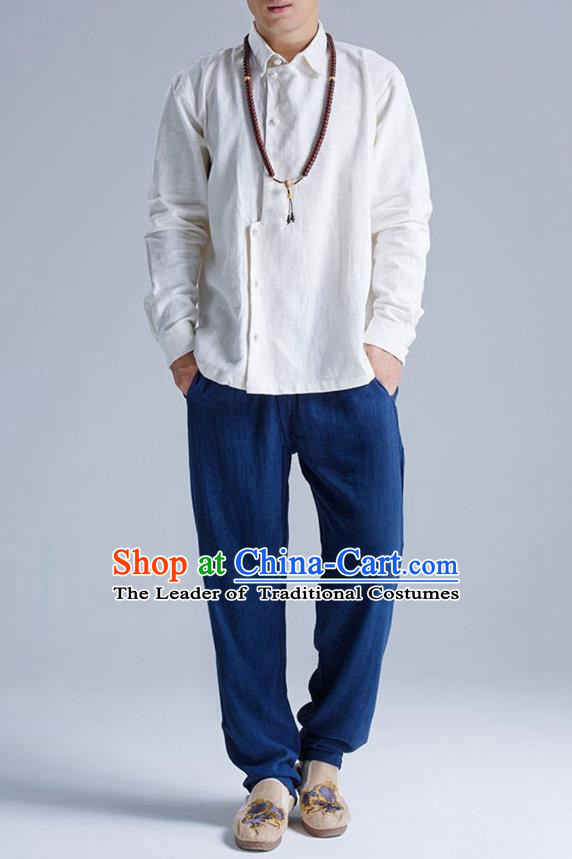 Traditional Top Chinese National Tang Suits Linen Frock Costume, Martial Arts Kung Fu Asymmetric Opening White Shirt, Kung fu Plate Buttons Thin Upper Outer Garment Blouse, Chinese Taichi Thin Shirts Wushu Clothing for Men