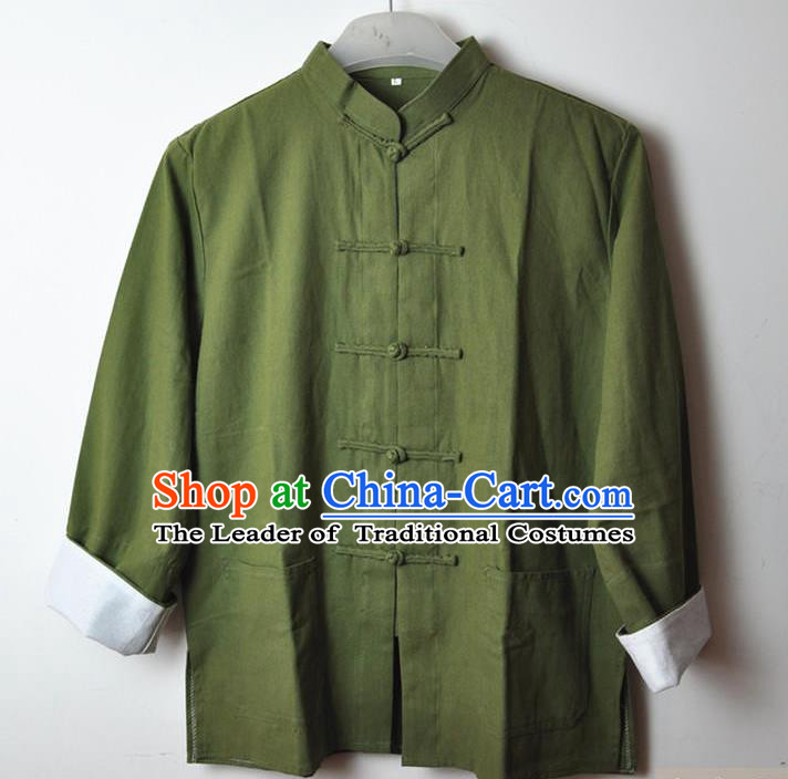 Traditional Top Chinese National Tang Suits Linen Costume, Martial Arts Kung Fu Front Opening Mixed Olives Coats, Kung fu Plate Buttons Jacket, Chinese Taichi Short Coats Wushu Clothing for Men